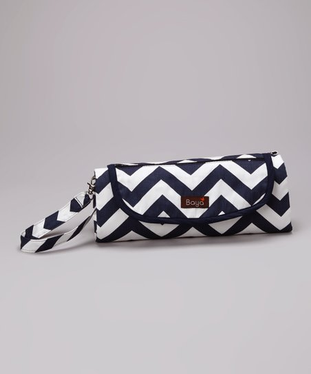 Navy & White Chevron Park Place Diaper Clutch
