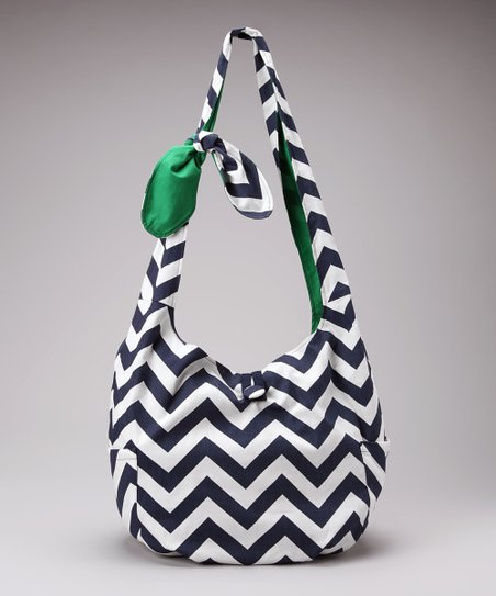 Navy & White Chevron Park Place Reversible Hobo