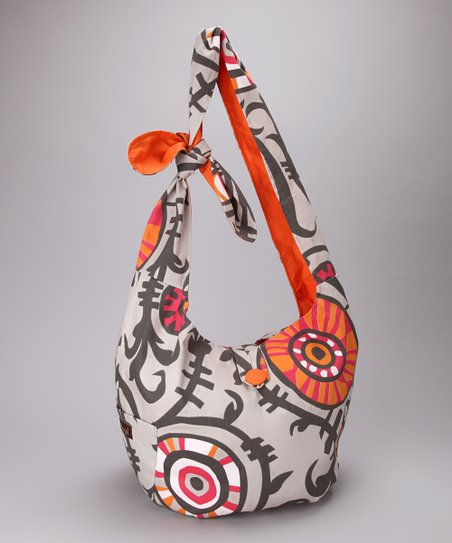 Sherbert & White Vines Reversible Hobo