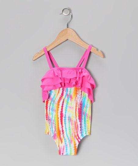 Rainbow Stripe Ruffle One-Piece - Girls