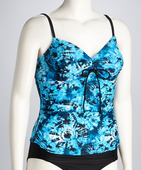 Blue Tie-Dye Craze Tankini Top