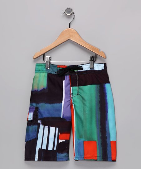 Blue & Orange Patchwork Boardshorts - Boys