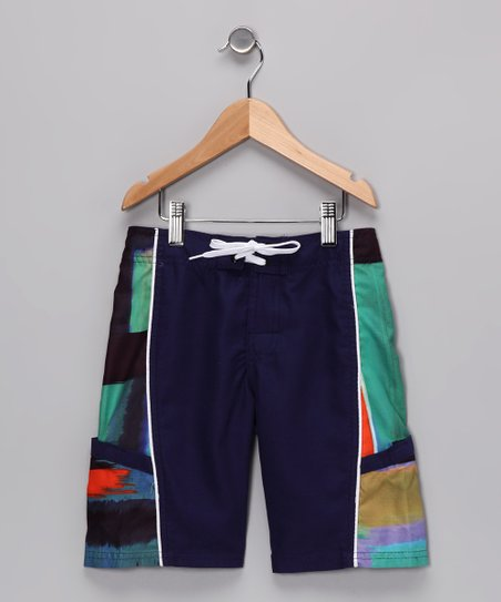 Night Blue Modern Stripe Boardshorts - Boys