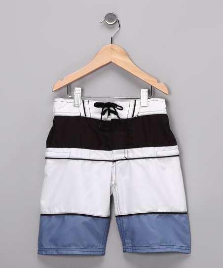 Blue & White Stripe Boardshorts - Boys