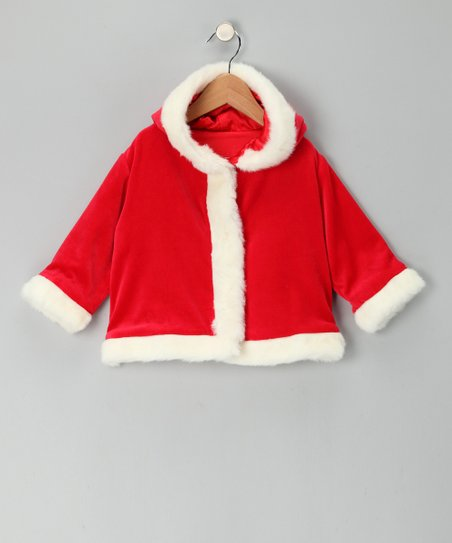 Red & White Faux Fur Santa Coat - Infant