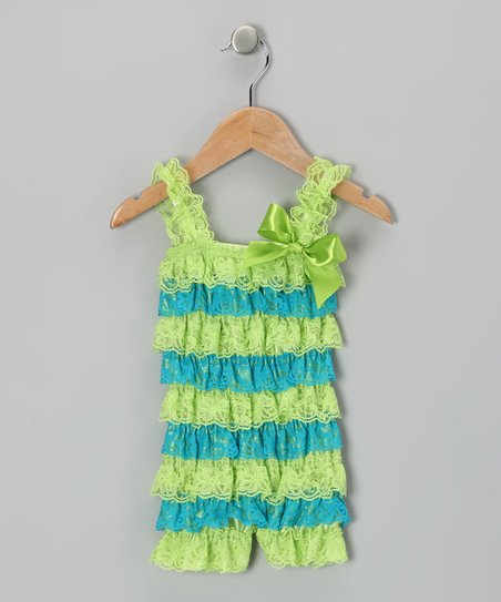 Lime & Turquoise Lace Ruffle Romper - Infant & Toddler