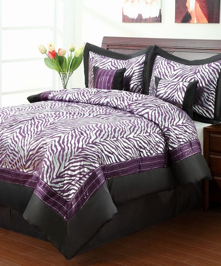 Purple Sassy Zebra Twin Comforter Set
