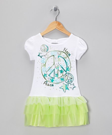 Key Lime Glitter Peace Dress