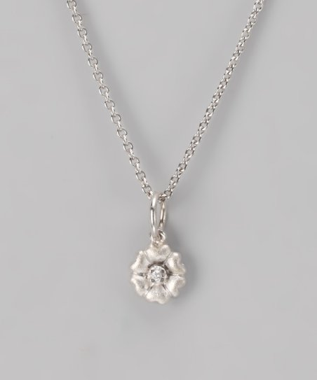 Silver Heart Flower Necklace