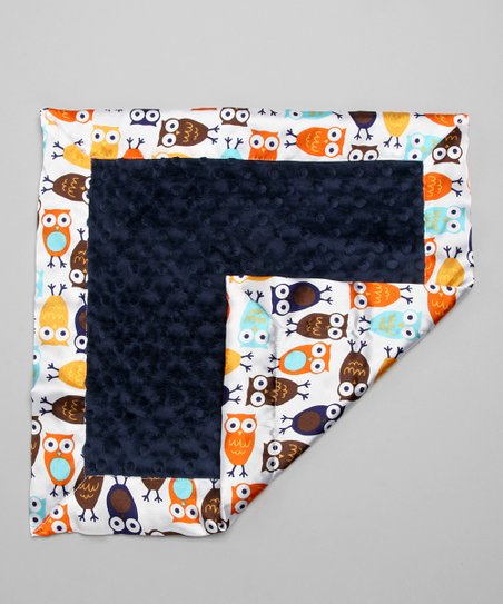Navy Night Owl Minky Security Blanket