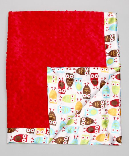 Red Night Owl Minky Stroller Blanket