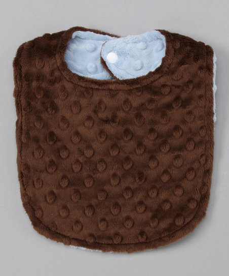 Blue &amp; Brown Reversible Minky Bib