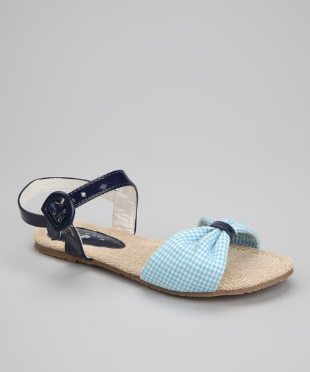 Navy Gingham Bow Sandal