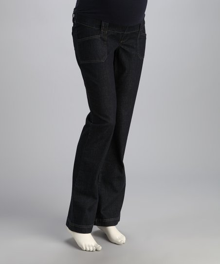 Indigo Denim Over-Belly Straight-Leg Maternity Jeans