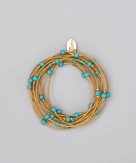 Gold &amp; Turquoise Piano Wire Stretch Bracelet Set