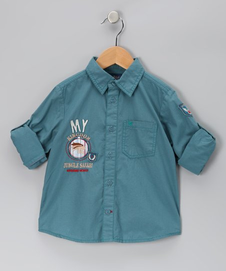 Blue 'My Kingdom Jungle Safari' Button-Up - Boys