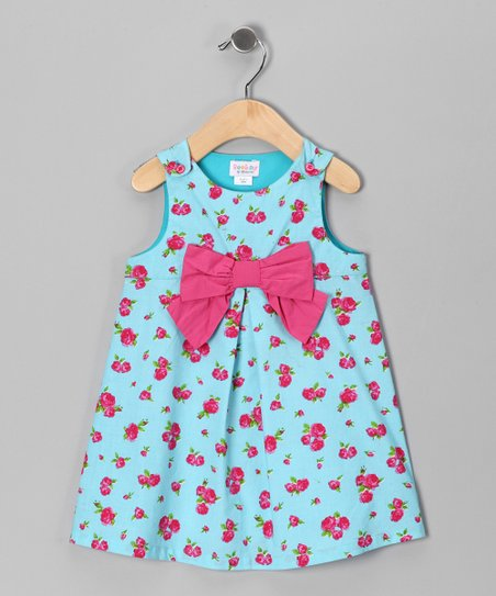 Turquoise & Pink Rose Bow Dress - Infant, Toddler & Girls