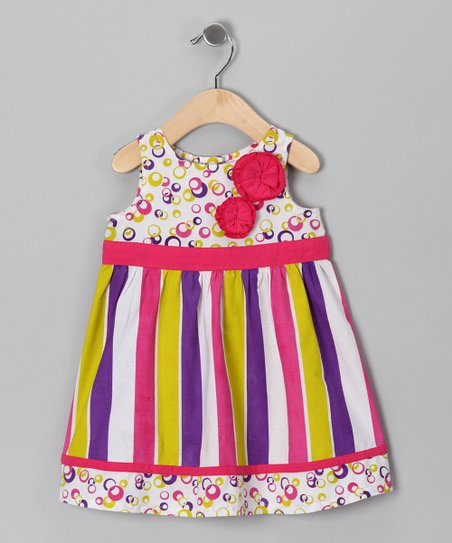 Pink & Purple Stripe Rosette Dress - Infant, Toddler & Girls