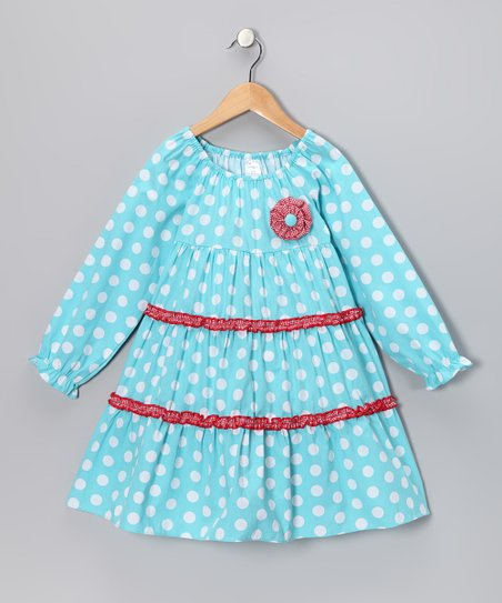Beehave Aqua Polka Dot Tiered Dress - Infant, Toddler &amp; Girls