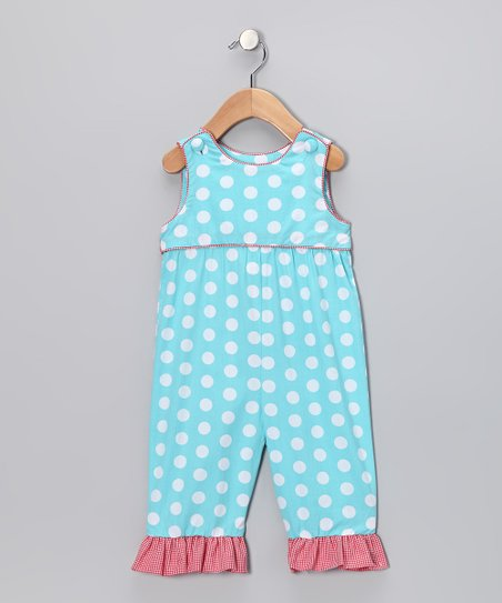 Beehave Aqua Polka Dot Overalls - Infant