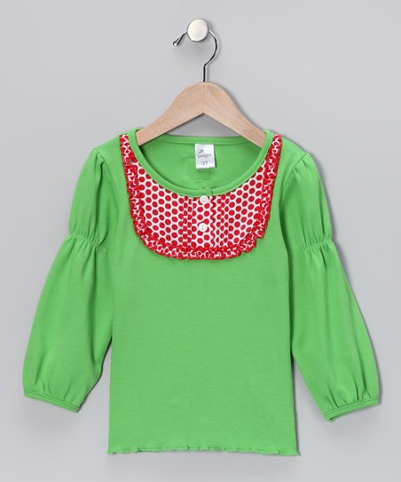 Green & Red Polka Dot Bib Top - Infant, Toddler & Girls