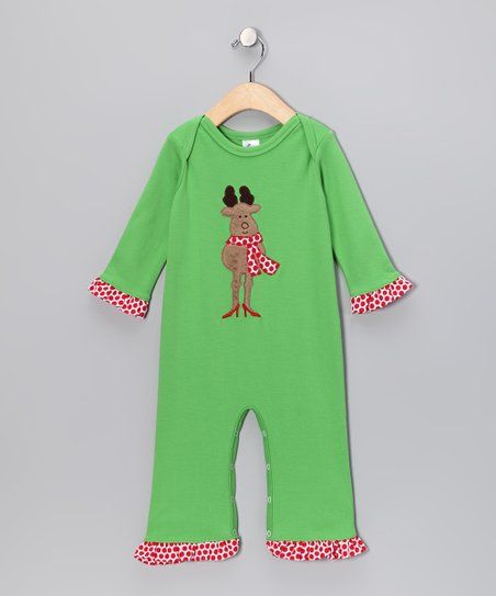 Lime Reindeer Ruffle Playsuit - Infant