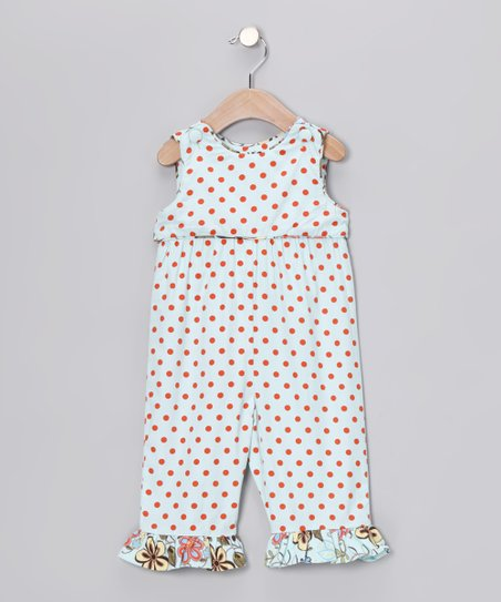 Aqua Polka Dot Romper - Infant & Toddler
