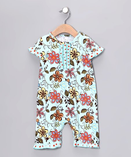Aqua Floral Playsuit - Infant