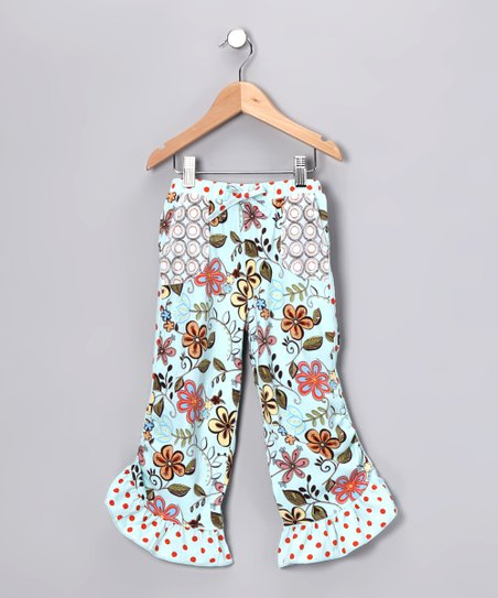 Aqua Floral Pocket Capri Pants - Girls