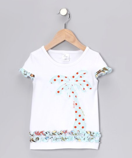 White Palm Tree Cap-Sleeve Tee - Infant, Toddler & Girls