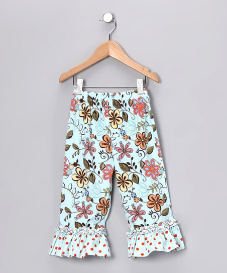 Aqua Ruffle Capri Pants - Infant &amp; Girls