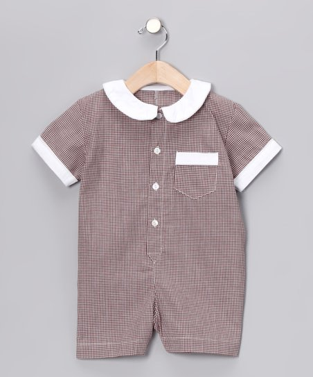 Brown Gingham Collar Romper - Infant & Toddler