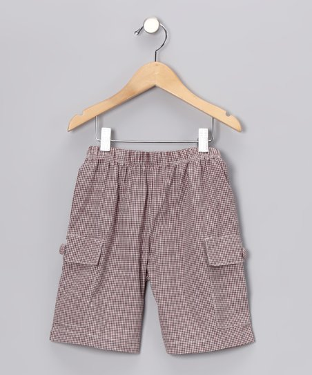 Brown Gingham Cargo Shorts - Infant, Toddler & Boys