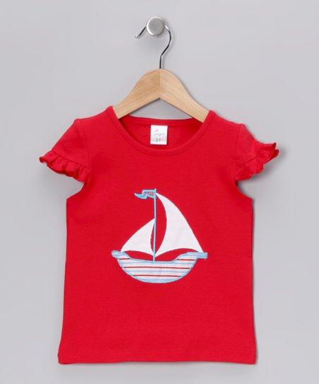 Red Sailboat Cap-Sleeve Tee - Infant