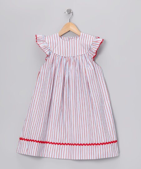 Red & Blue Stripe Angel-Sleeve Dress - Infant & Toddler