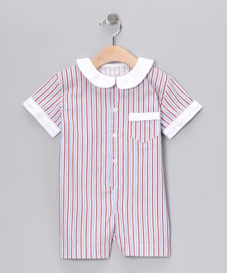 Red & Blue Stripe Collar Romper - Infant & Toddler