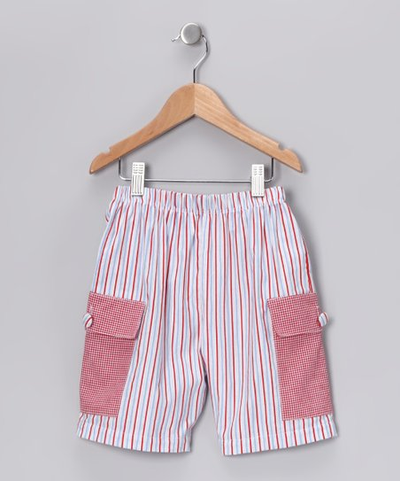 Red &amp; Blue Stripe Cargo Shorts - Infant, Toddler &amp; Boys
