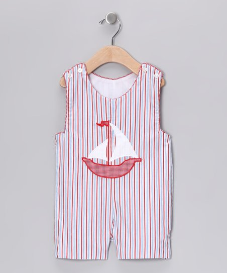 Red & Blue Stripe Shortalls - Infant