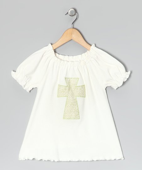 Cream Cross Ruffle Peasant Top - Infant, Toddler & Girls