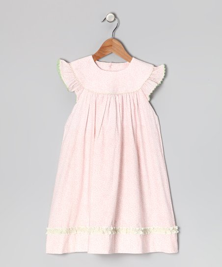 Pink Floral Angel-Sleeve Dress - Infant, Toddler & Girls