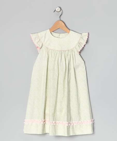 Sage Floral Angel-Sleeve Dress - Infant, Toddler & Girls