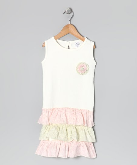Cream & Pink Floral Drop-Waist Dress - Toddler & Girls