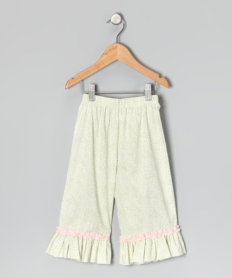 Sage Floral Ruffle Capri Pants - Toddler & Girls
