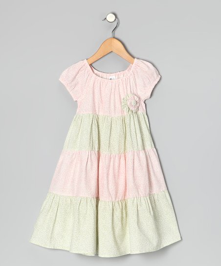 Pink & Sage Floral Tiered Dress - Infant, Toddler & Girls