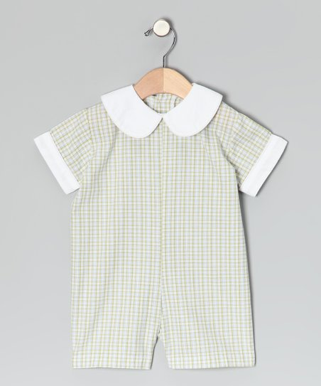 Green Plaid Peter Pan-Collar Romper - Infant
