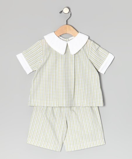 Green Plaid Top & Shorts - Infant, Toddler & Boys