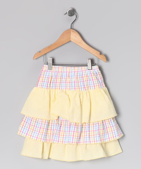 Pink & Yellow Tiered Ruffle Skirt - Toddler & Girls