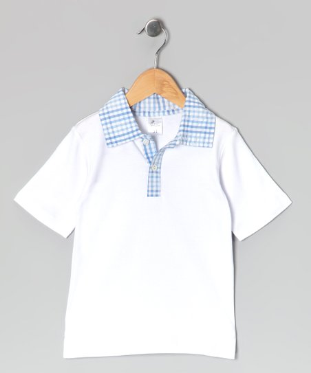 White & Blue Polo - Infant, Toddler & Boys