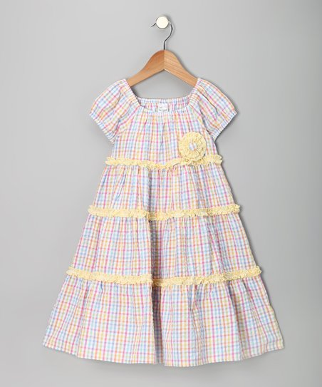 Pink &amp; Yellow Seersucker Tiered Dress - Infant, Toddler &amp; Girls