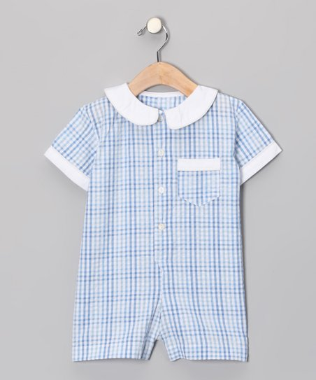 Blue Plaid Button-up Romper - Infant & Toddler